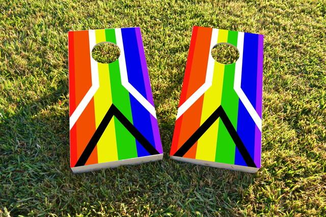 Gay Pride Rainbow Flag with Peace Sign Themed Custom Cornhole Board Design