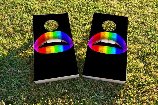 Gay Pride Rainbow Lips Themed Custom Cornhole Board Design