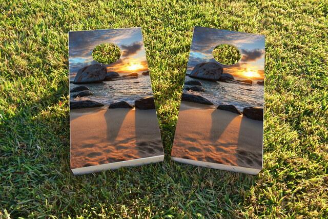 Sunset on the Beach Themed Custom Cornhole Board Design