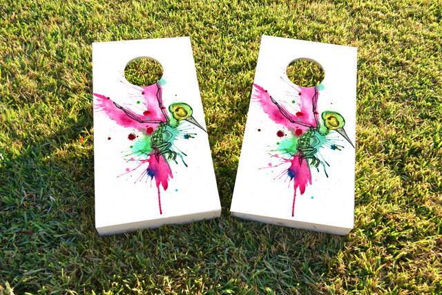 Humming Bird Art Themed Custom Cornhole Board Design