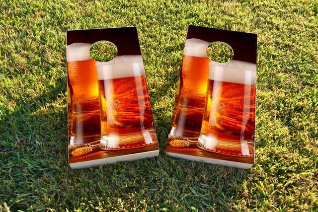 Double Beer Mug Themed Custom Cornhole Board Design