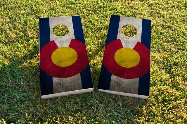 Worn Colorado State Flag Themed Custom Cornhole Board Design