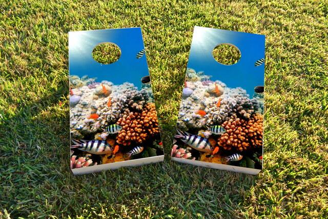 Coral Fish Themed Custom Cornhole Board Design