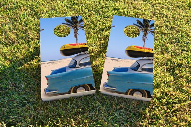 Beach Car Themed Custom Cornhole Board Design