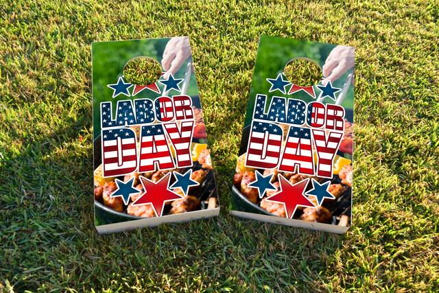 Labor Day Themed Custom Cornhole Board Design