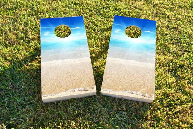Beach Sun Themed Custom Cornhole Board Design