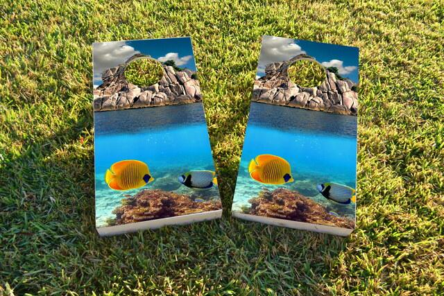 Coral Reef Custom Cornhole Board Design