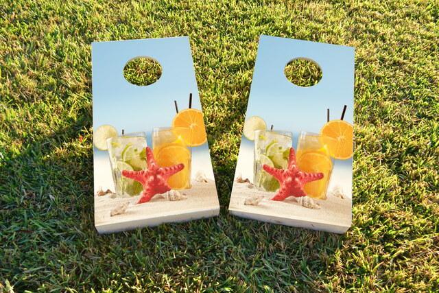 Drinks on Beach Themed Custom Cornhole Board Design