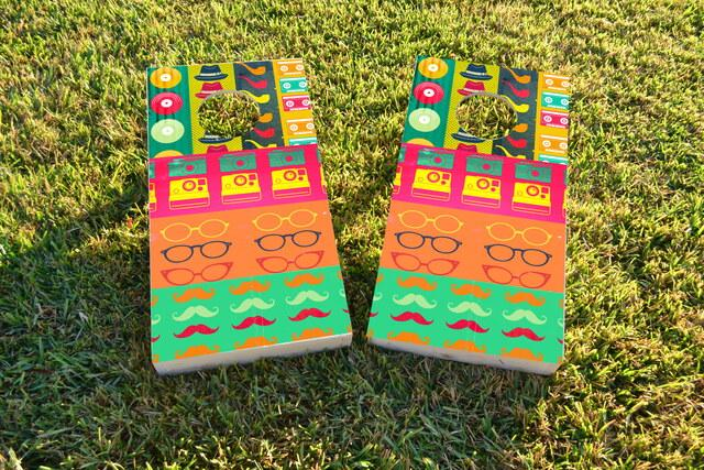 Hipster Themed Custom Cornhole Board Design
