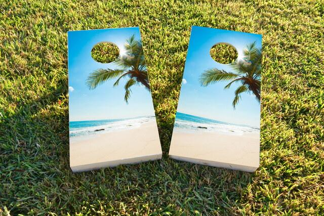 Palms Themed Custom Cornhole Board Design