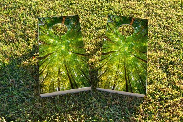 Trees Themed Custom Cornhole Board Design