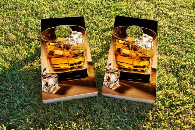 Whiskey Cigars Themed Custom Cornhole Board Design
