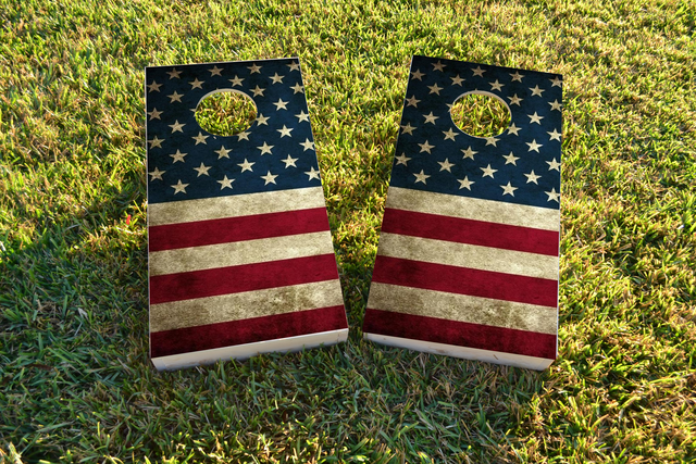American Flag Themed Custom Cornhole Board Design