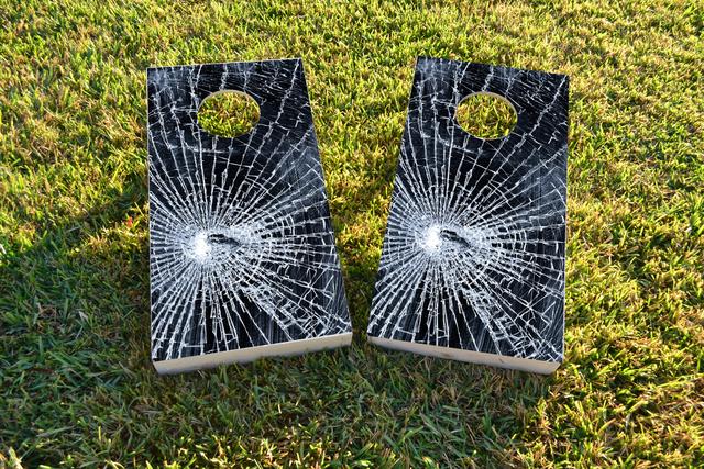 Broken Glass Themed Custom Cornhole Board Design