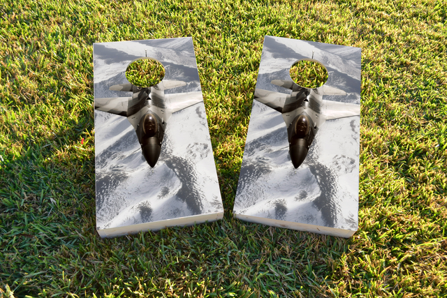 Camo Jet Themed Custom Cornhole Board Design