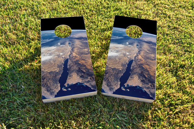 Earth from Space Themed Custom Cornhole Board Design