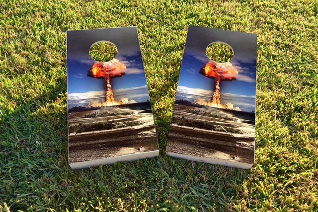 Explosion Themed Custom Cornhole Board Design