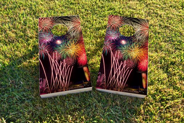 Fireworks Themed Custom Cornhole Board Design