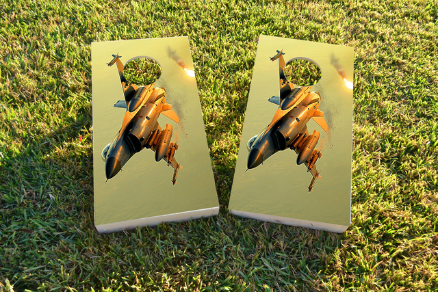 Jet Underside Themed Custom Cornhole Board Design