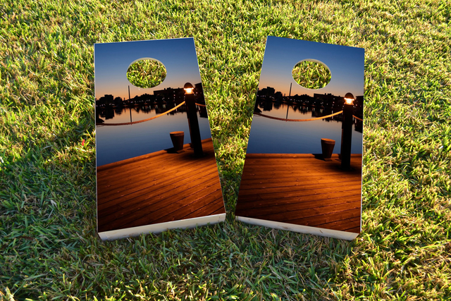 Pier Themed Custom Cornhole Board Design
