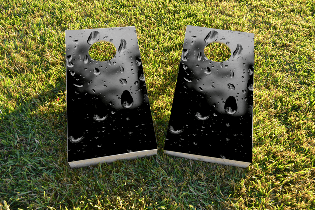 Rain Drops Themed Custom Cornhole Board Design