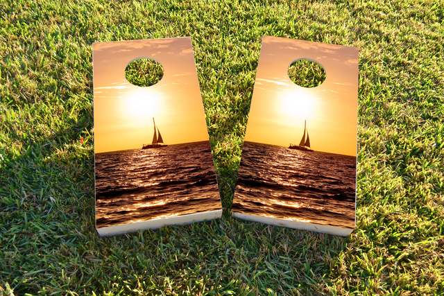 Sailboat Themed Custom Cornhole Board Design