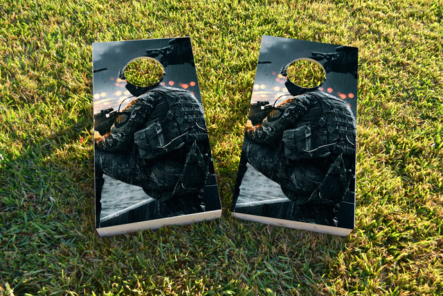 Soldier Themed Custom Cornhole Board Design
