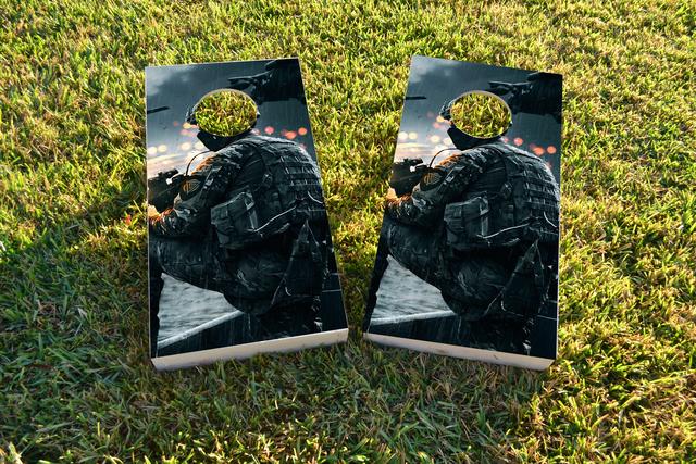 Soldier Themed Custom Cornhole Board Design