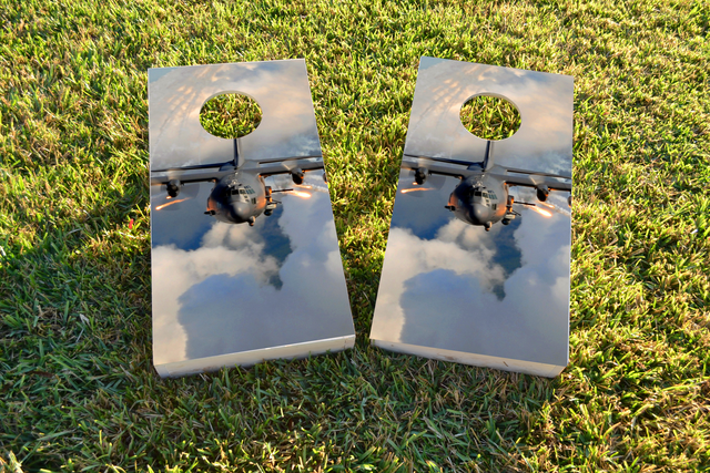 AC130 Flying Themed Custom Cornhole Board Design