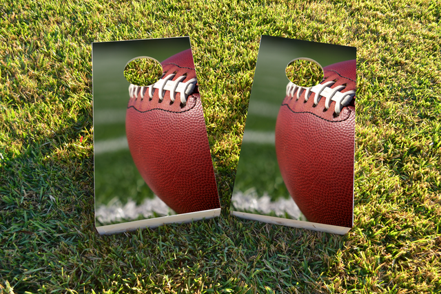 Football in Field Themed Custom Cornhole Board Design