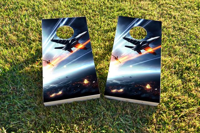 Soaring Jets Themed Custom Cornhole Board Design