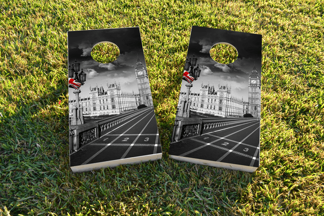 Regulation Size Custom Cornhole Board Game Set 1x4 Corn Hole Bag Toss London