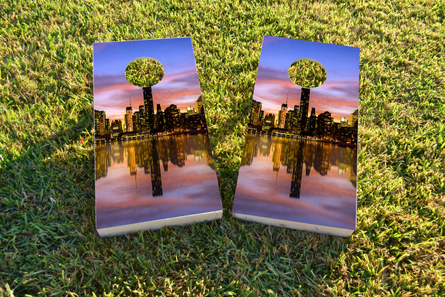 New York City at Sunset Themed Custom Cornhole Board Design