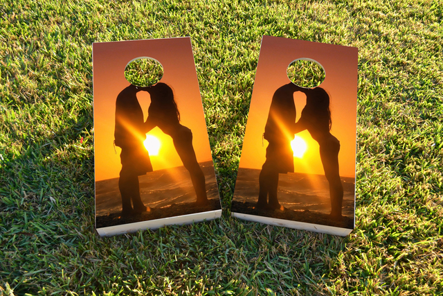 Romantic Sunset by the Sea Themed Custom Cornhole Board Design