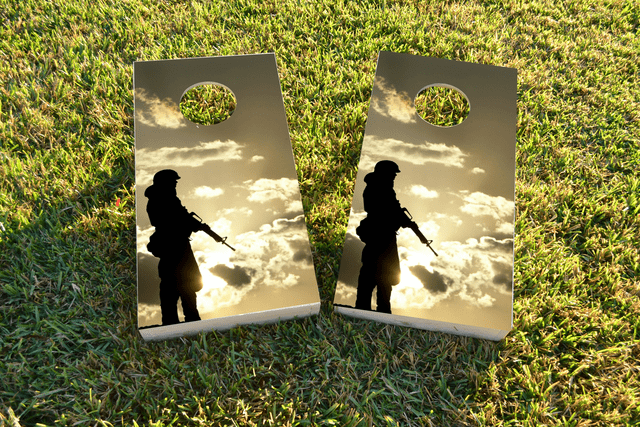 Soldier Silhouette at Dusk Themed Custom Cornhole Board Design