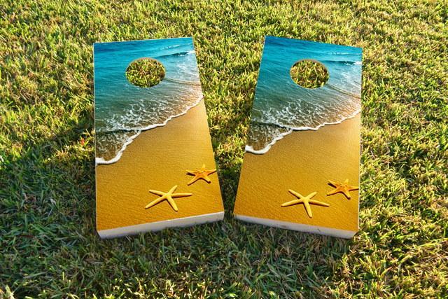Beach Starfish Themed Custom Cornhole Board Design