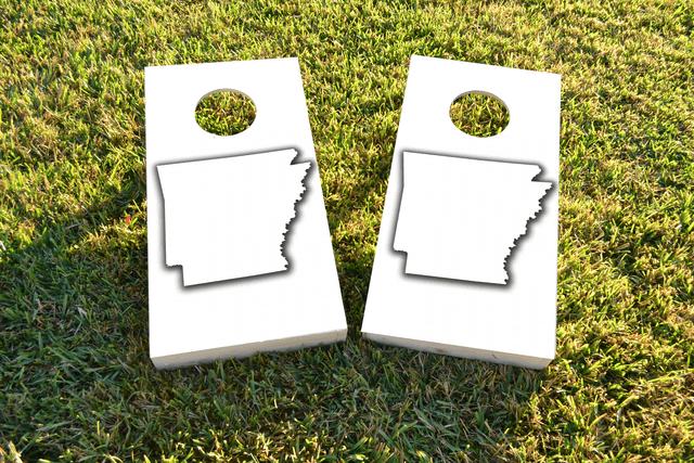White Arkansas Themed Custom Cornhole Board Design