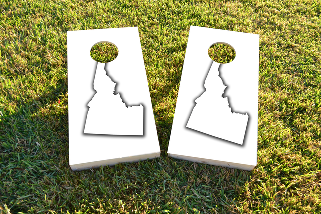 White Idaho Themed Custom Cornhole Board Design
