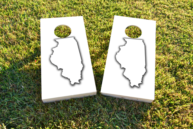 White Illinois Themed Custom Cornhole Board Design