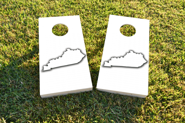 White Kentucky Themed Custom Cornhole Board Design