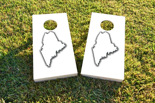 White Maine Themed Custom Cornhole Board Design