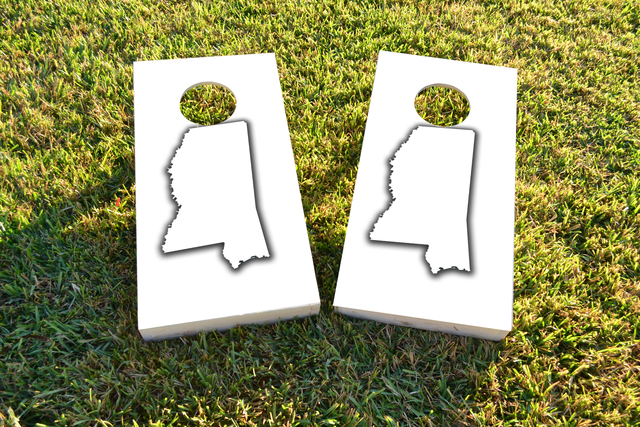 White Mississippi Themed Custom Cornhole Board Design