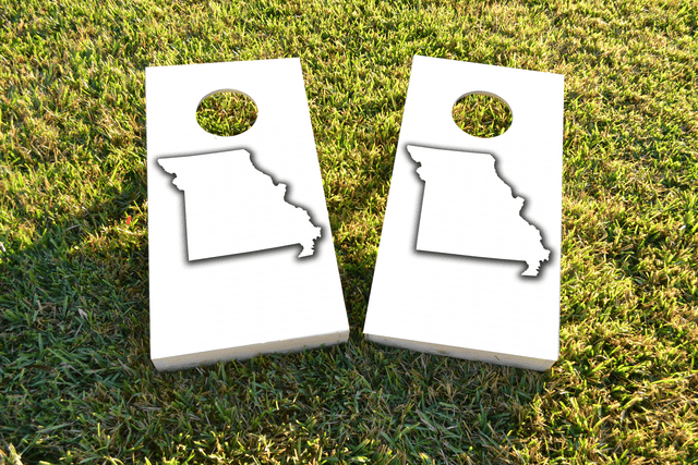 White Missouri Themed Custom Cornhole Board Design