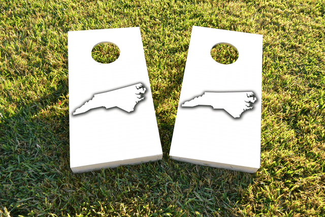 White North Carolina Themed Custom Cornhole Board Design