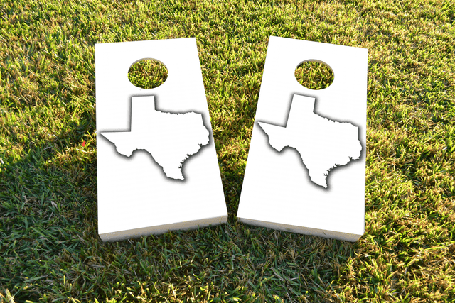 White Texas Themed Custom Cornhole Board Design
