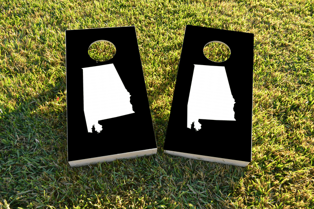 Black Alamabama Themed Custom Cornhole Board Design