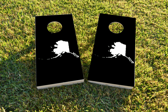 Black Alaska Themed Custom Cornhole Board Design