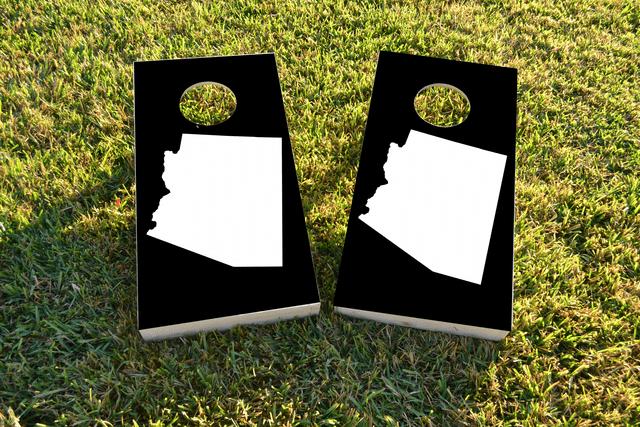 Black Arizona Themed Custom Cornhole Board Design