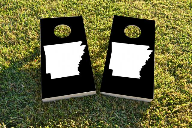 Black Arkansas Themed Custom Cornhole Board Design