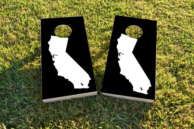 Black California Themed Custom Cornhole Board Design